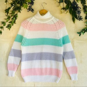 Vintage Striped Pastel Turtleneck Chunky Sweater